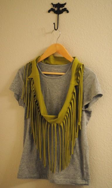 Для начала отрезаем у футболки низ, там, где она...  Для того чтобы сделать такой шарф не нужны ни нитки, ни иголки.